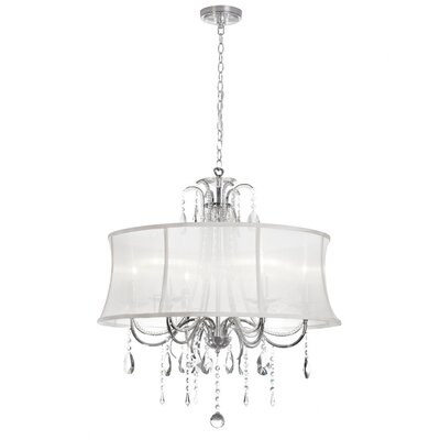 Ella 6-Light Drum Pendant Shade Color: White