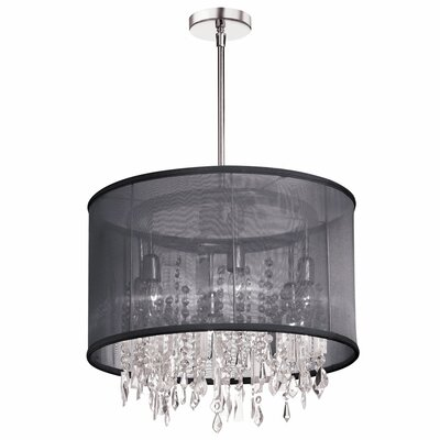 Bohemian 6-Light Drum Pendant Shade Color: Black