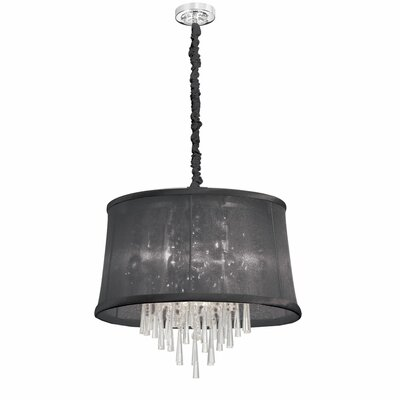 Julia 6-Light Drum Pendant Shade Color: Black