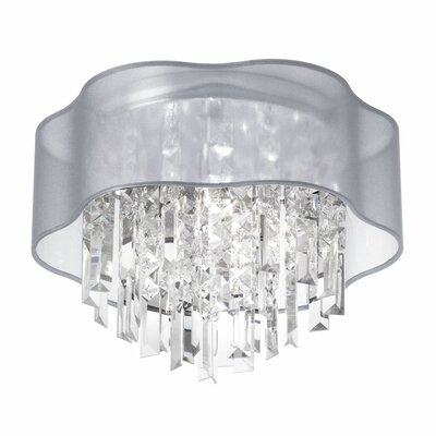 Illusion 3-Light Flush Mount Shade Color: Silver
