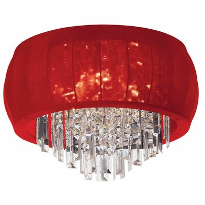 Maya 8-Light Flush Mount Shade Color: Red Lycra