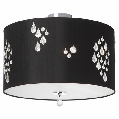Rhiannon 3-Light Semi Flush Mount Shade Color: Black Baroness