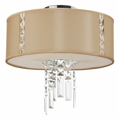 Rita 2-Light Semi Flush Mount Shade Color: Cream