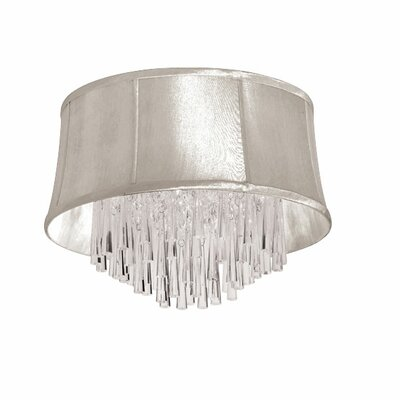 Julia 4-Light Flush Mount Shade Color: Oyster Organza