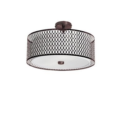 Kirkbride 3-Light Drum Pendant Finish: Vintage Oiled Brushed Bronze, Size: 8.5 H x 17 W