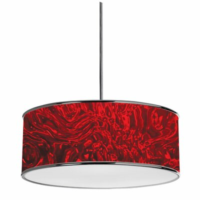 Madorna 3-Light Drum Pendant Shade Color: Red