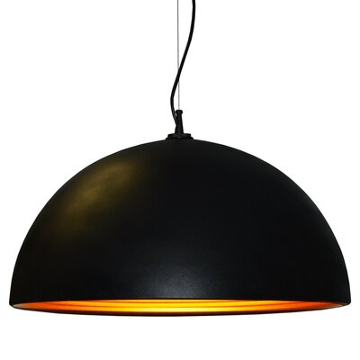 Helsinki 1-Light Bowl Pendant Shade Color: Matte Black
