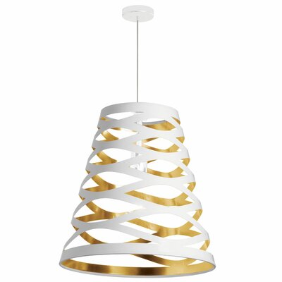 Cutouts 1-Light Mini Pendant Shade Color: White on Gold