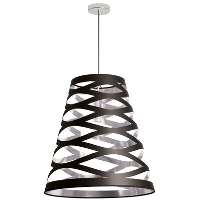 Cutouts 1-Light Mini Pendant Shade Color: Black on Silver