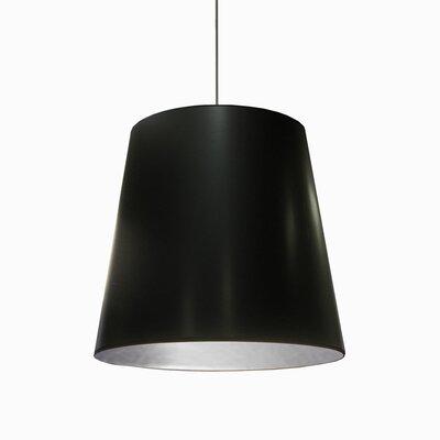 Batalla 1-Light Geometric Pendant Size: 21 H x 26 W x 26 D, Shade Color: Black on Silver