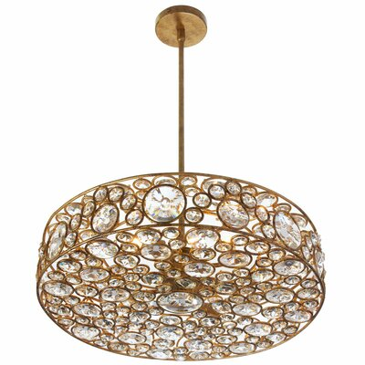 Hatfield 6-Light Drum Shade Crystal Pendant
