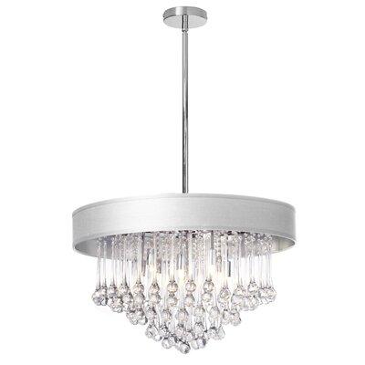 Tamara 8-Light Crystal Chandelier Shade Color: White