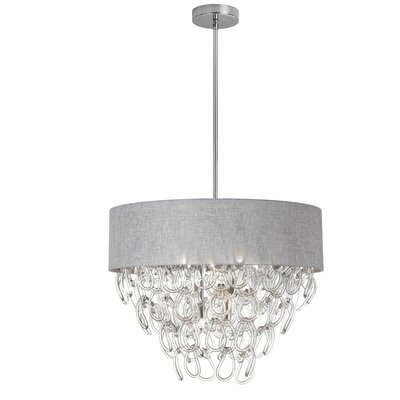 Cristallo 6-Light Drum Chandelier Shade Color: Grey