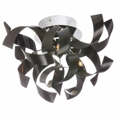 Partizon 3-Light Semi Flush Mount Finish: Black