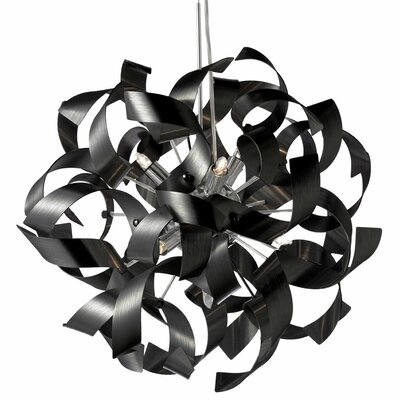 Partizon 9-Light Mini Pendant Finish: Black
