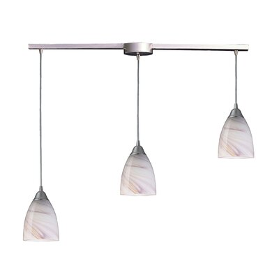 Frostia 3-Light Linear Pendant Glass Type: Creme