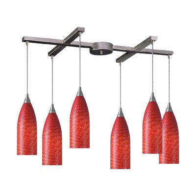 Ange 6-Light Pendant Glass Type: Multi Glass