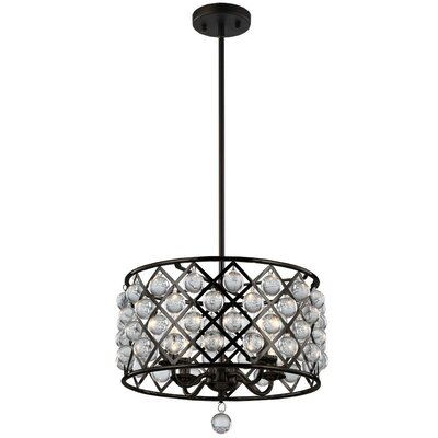 Carelton 4-Light Crystal Chandelier Finish: Espresso