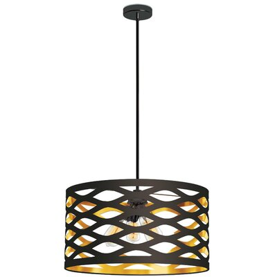 Countess 4-Light Drum Pendant Finish: Black/Gold