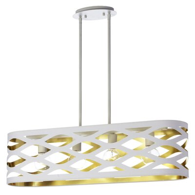 Countess 4-Light Kitchen Island Pendant Finish: White/Gold