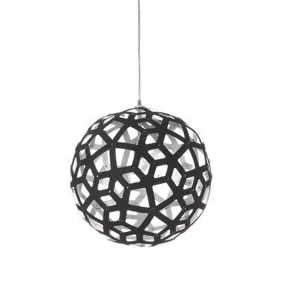 Talma 1-Light Globe Pendant Size: 18 H x 18 W x 18 D, Finish: Black/Silver