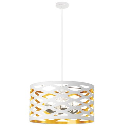 Countess 4-Light Drum Pendant Finish: White/Gold