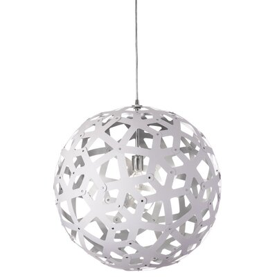 Talma 1-Light Globe Pendant Finish: White/Silver, Size: 22 H x 22 W x 22 D
