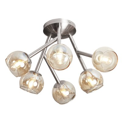 Towards 6-Light Semi Flush Mount Finish: Satin Chrome, Shade Color: White