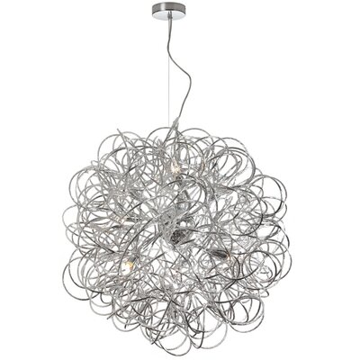 Baya 8-Light Geometric Pendant Finish: Polished Chrome, Size: 24 x 24 x 24