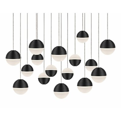 Divine 16-Light Cascade Pendant Shade Color: Black/Cream