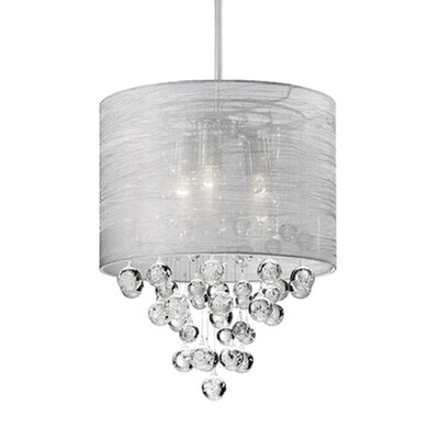Ophelia 3-Light Crystal Pendant Shade Color: Gray