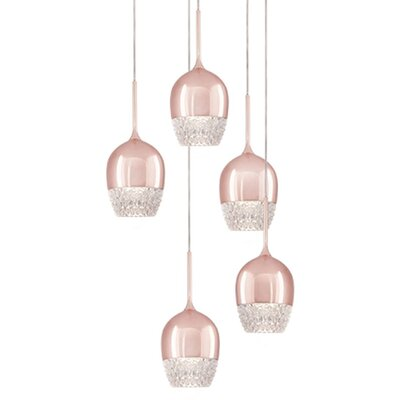 Cabaret 5-Light Cascade Pendant Finish: Rose Gold