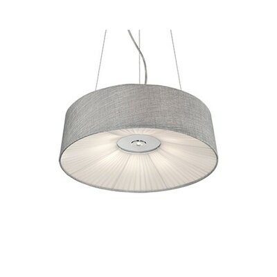 Kara 2-Light Drum Pendant Shade Color: Gray, Size: 6 H x 20 W x 20 D