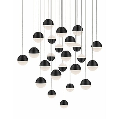 Divine 24-Light Cascade Pendant Shade Color: Black/Cream