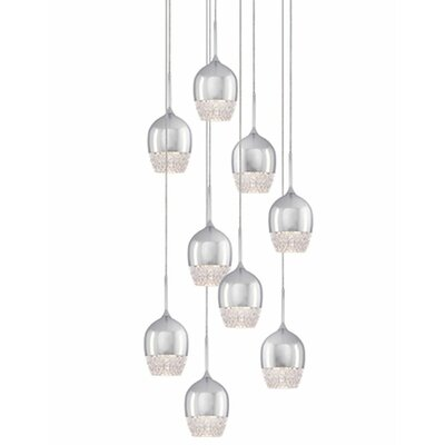Cabaret 9-Light Cascade Pendant Finish: Chrome
