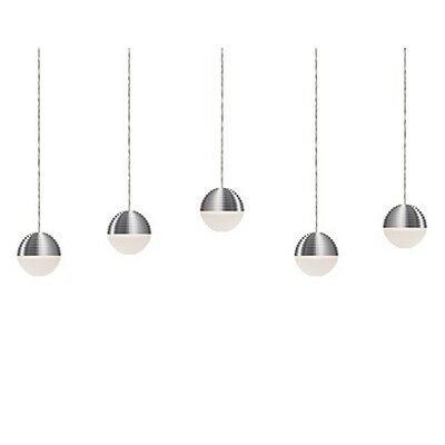 Divine 5-Light Cascade Pendant Shade Color: Brushed Nickel/Cream