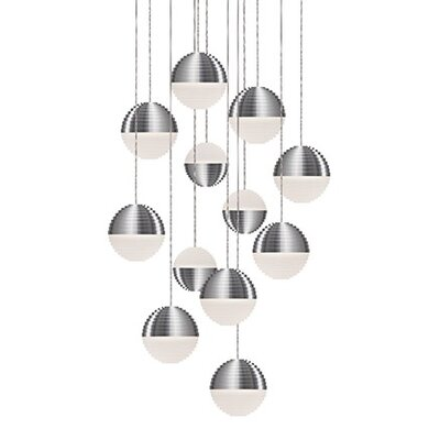 Divine 12-Light Cascade Pendant Shade Color: Brushed Nickel/Cream