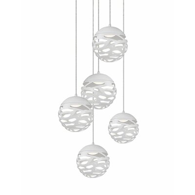 Gregor 5-Light Cascade Pendant Shade Color: White