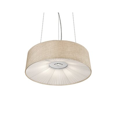 Kara 2-Light Drum Pendant Shade Color: Ivory, Size: 6 H x 20 W x 20 D