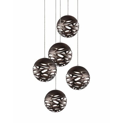 Gregor 5-Light Cascade Pendant Shade Color: Bronze