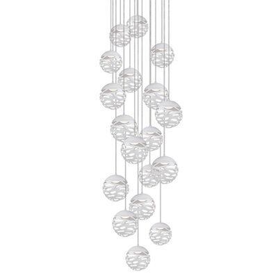 Gregor 18-Light Cascade Pendant Shade Color: White