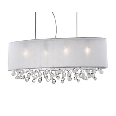 Ophelia 6-Light Crystal Pendant Shade Color: White