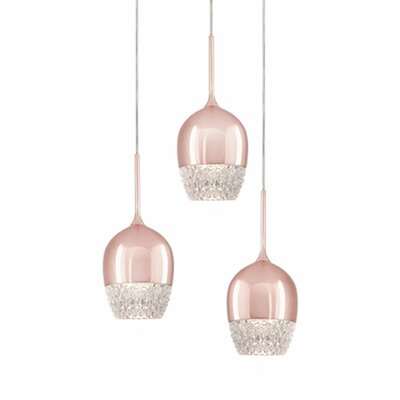 Cabaret 3-Light Cascade Pendant Finish: Rose Gold