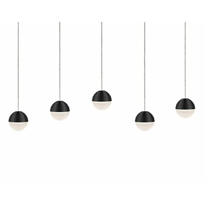 Divine 5-Light Cascade Pendant Shade Color: Black/Cream