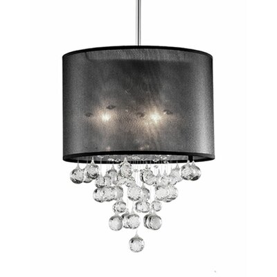 Ophelia 3-Light Crystal Pendant Shade Color: Black