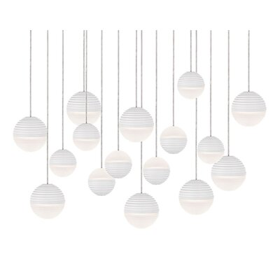 Divine 16-Light Cascade Pendant Shade Color: White/Cream