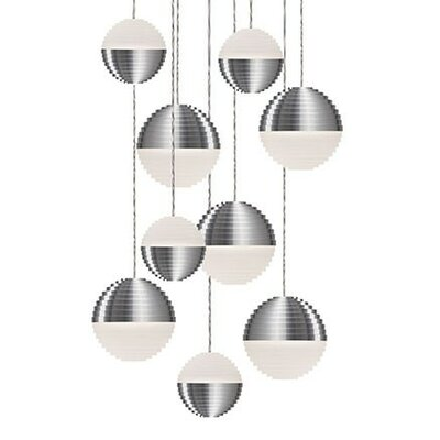 Divine 9-Light Cascade Pendant Shade Color: Brushed Nickel/Cream