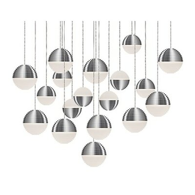 Divine 16-Light Cascade Pendant Shade Color: Brushed Nickel/Cream