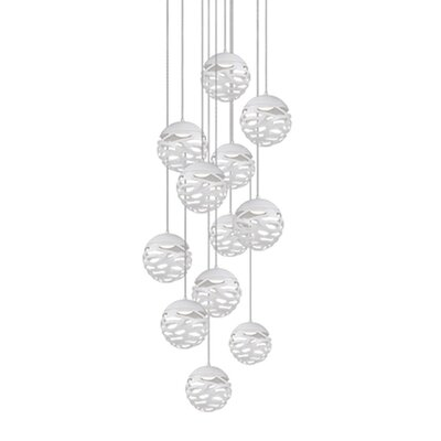 Gregor 12-Light Cascade Pendant Shade Color: White