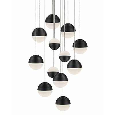 Divine 12-Light Cascade Pendant Shade Color: Black/Cream